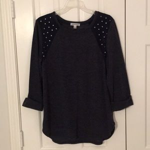 Navy 3/4 sleeve top w/ silver stud accents